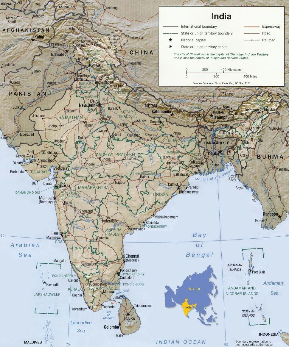 Asian map of india afiganistan