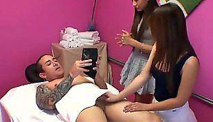 Threesome asian massage