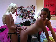 best of Strap on college dorm fuck Lesbian