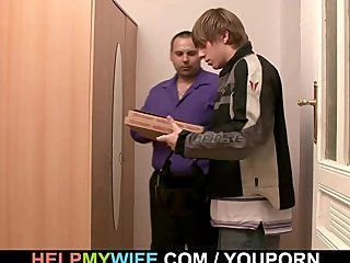 best of Wiyh guy blowjob Wife pizza pays