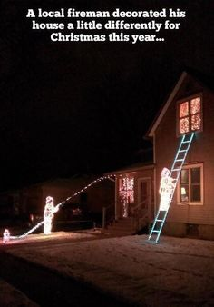 Santa peeing off roof