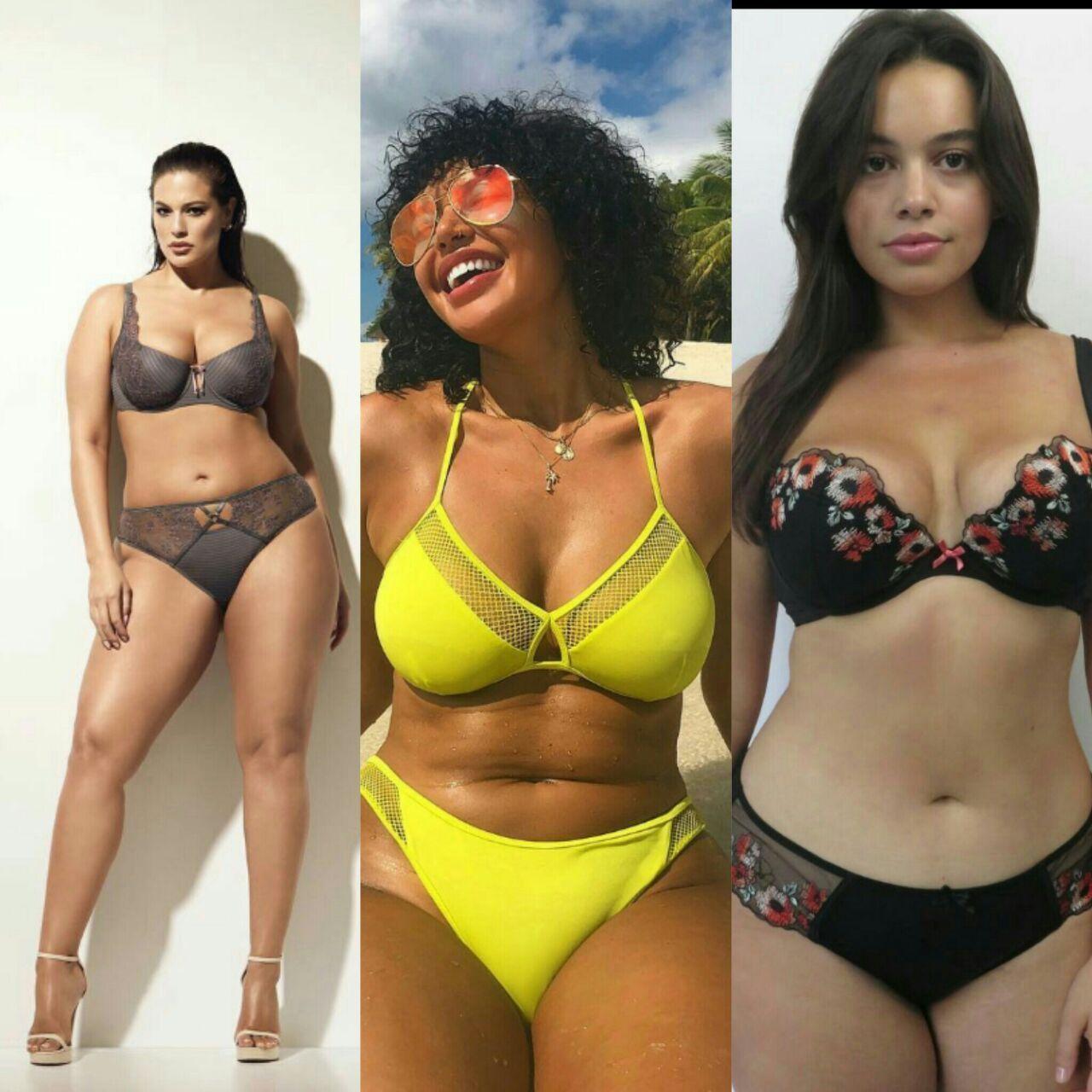 Plus size female topless bikini models