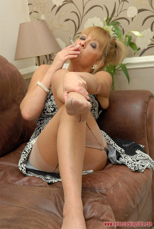 Pantyhose smoking lucky