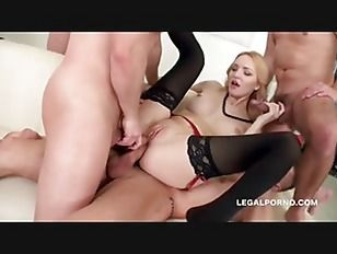 sorry, that interrupt hot blonde babe gets double penetrated for that