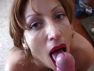 Milf red lipstick blowjob