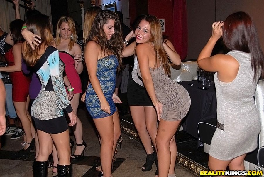Party sexy girls big dancing on something also